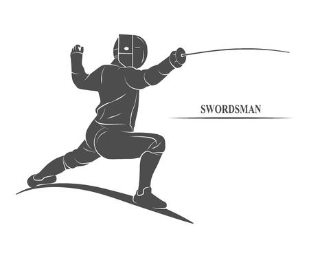 esgrimista: esgrimista icono con una espada. Foto ilustración.