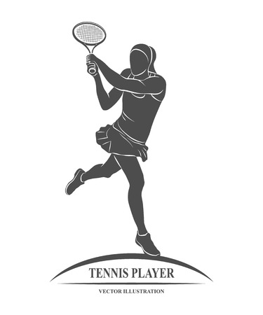 Ikona tenisista z rakietą. ilustracja.