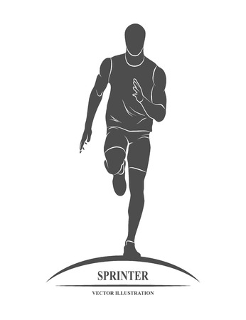 distances: Icon runners on short distances sprinter. illustration.