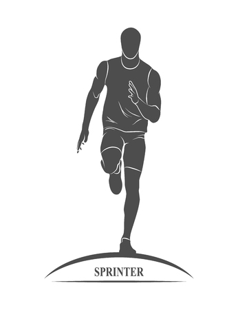 distances: Icon runners on short distances sprinter. Photo illustration.