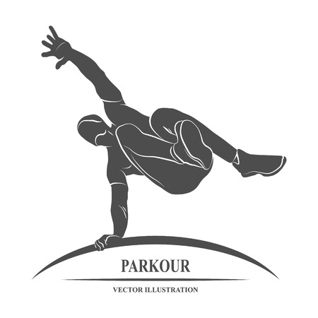 man jumping: Icon man jumping outdoor parkour. illustration.