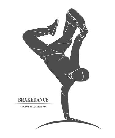 friso: Dancing rapero y haciendo un friso en una mano. ilustraci�n.