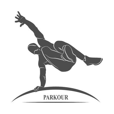 parkour: Icon man jumping outdoor parkour. Photo illustration.