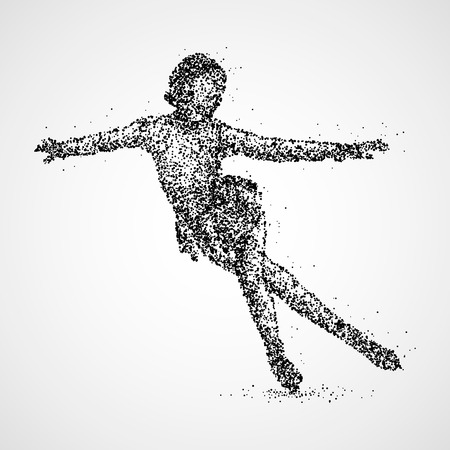 Abstract woman skating of black circles.