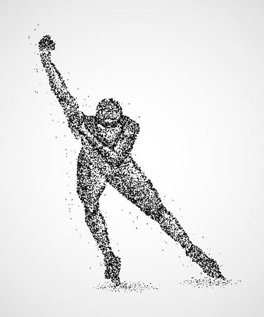 Abstract skater on the ice of black circles illustration. Illustration