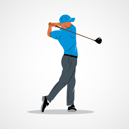Resumen jugador de golf, patear la pelota. La marca de identidad corporativa plantilla de diseño aislado en un fondo blanco.