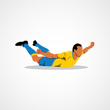 soccer player happy after victory goalkeeper. Branding Identity Corporate design template Isolated on a white background.