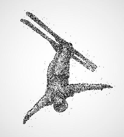 skier jumping: Abstract skier jumping of black circles Illustration