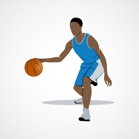 dribbling: Abstract basketball player dribbling with ball. Branding Identity Corporate design template Isolated on a white background.
