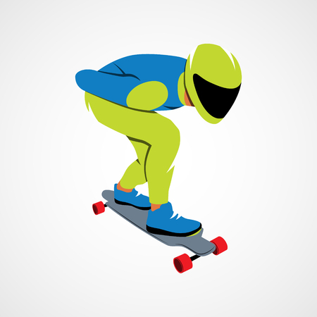 Skateboarder long boarding downhill on a white background.