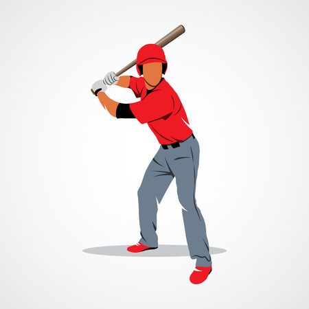 hit: Baseball player hit the ball on a white background.