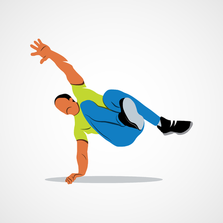 Abstract man jumping outdoor parkour on a white background. Photo illustration.