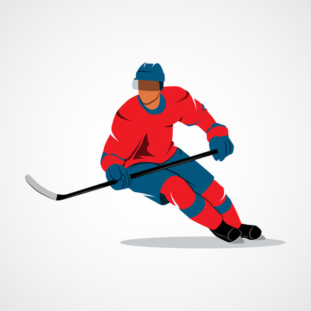 puck: Abstract hockey player on a white background. Photo illustration.