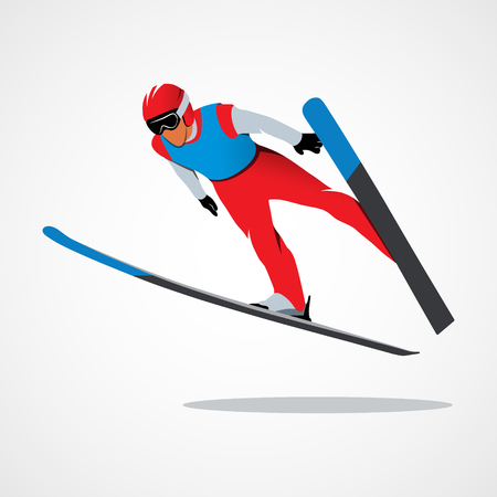 Jumping skier sport Stock Photo