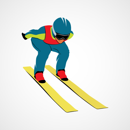 Jumping skier sport Illustration