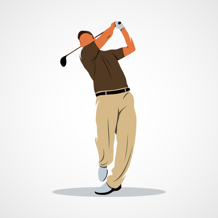 shot put: golf player illustration Stock Photo