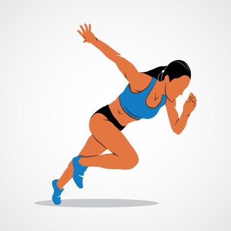 Les coureurs sur de courtes distances sprinter sur un fond blanc. Vector illustration. Vecteurs