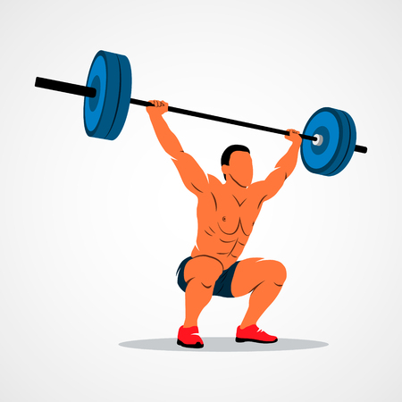 squat: Strong man lifting weights powerlifting weightlifting. Vector illustration.