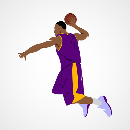 basketball dunk: Abstract basketball player with ball on a white background. Vector illustration.