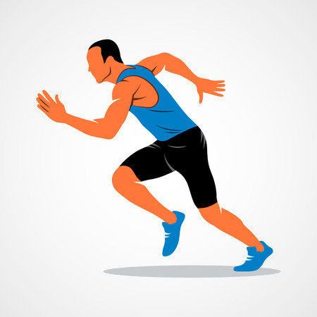 Runners on short distances sprinter on a white background. Vector illustration.