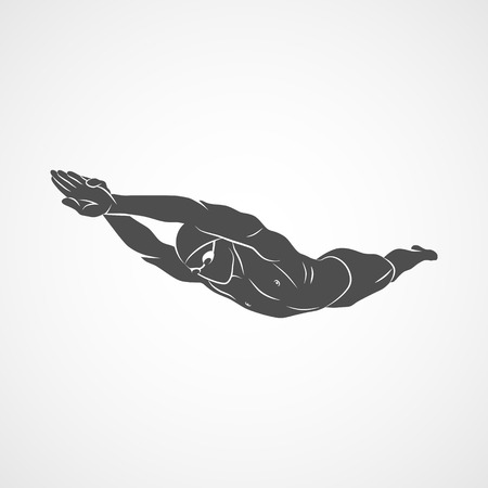 Silhouette a swimmer dives into the water on a white background. Vector illustration. Ilustracja