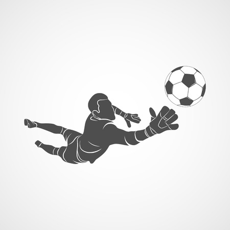 Silhouette football goalkeeper is jumping for the ball Soccer on a white background. Vector illustration. Foto de archivo