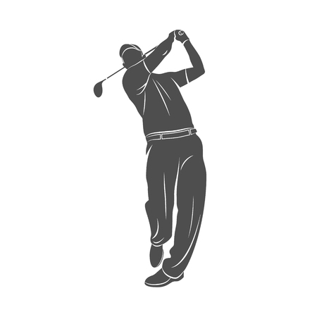 Silhouette golf player on a white background. Vector illustration.