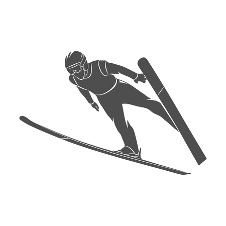 Silhouette jumping skier on a white background. Vector illustration.