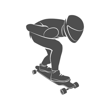 skateboard park: Silhouette skateboarder longboarding downhill on a white background. Vector illustration.
