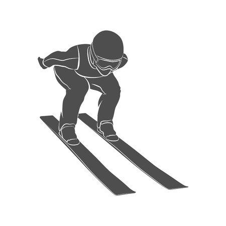 Silhouette jumping skier on a white background. Photo illustration.