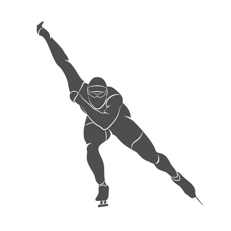Silhouette speed skaters on a white background. Photo illustration. Stock Photo