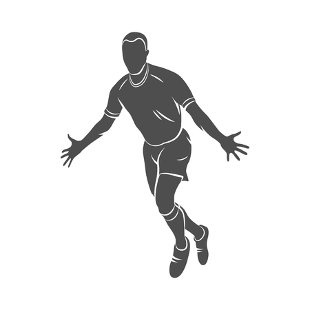 Silhouette soccer player happy after victory goalkeeper on a white background. Photo illustration.