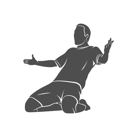 Silhouette soccer player happy after victory goalkeeper on a white background. Vector illustration.