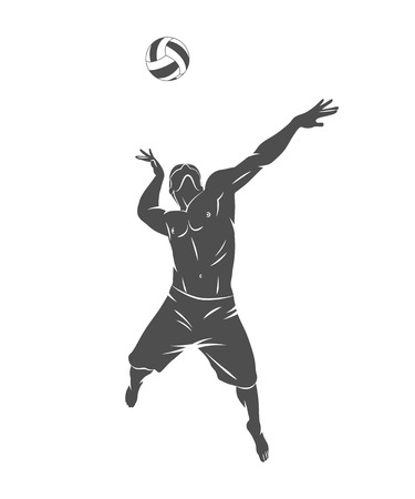 Silhouette volleyball player jumping on a white background. Vector illustration. Иллюстрация