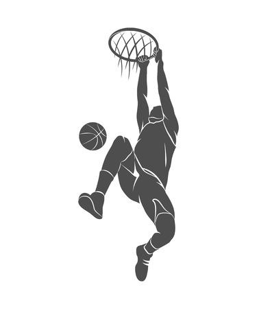Profili il giocatore di pallacanestro con la sfera su una priorità bassa bianca. Illustrazione della foto Archivio Fotografico - 72479687
