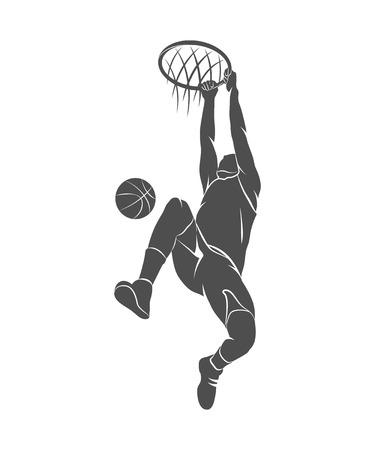 Silhouette basketball player with ball on a white background. Photo illustration. Фото со стока