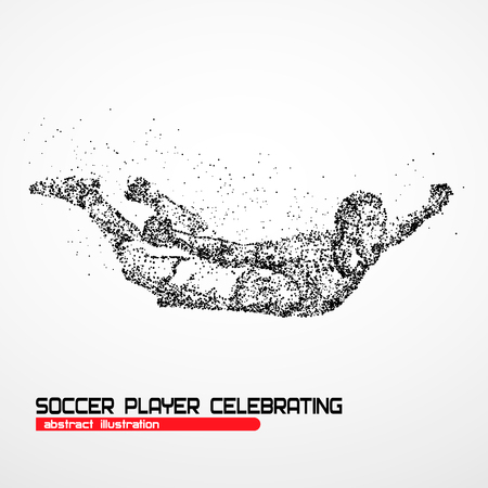 Soccer player happy after victory goalkeeper on a white background. Photo illustration.