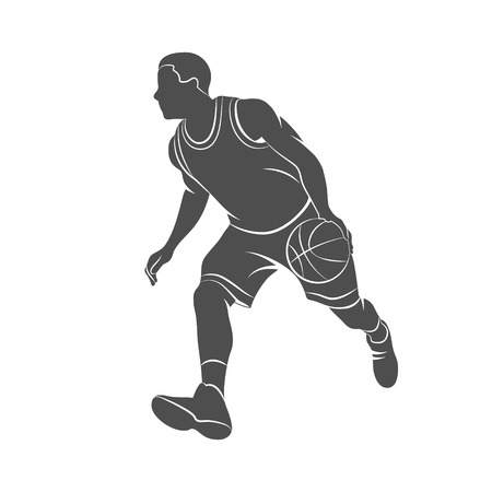 basketball dunk: Silhouette basketball player with ball on a white background. Vector illustration.