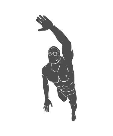 Silhouette a swimmer dives into the water on a white background. Vector illustration. Vettoriali