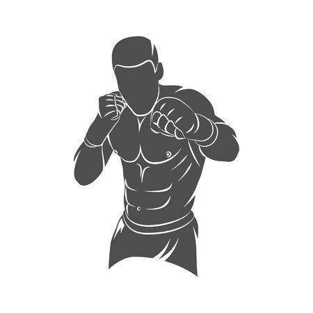 Silhouet gemengde vechtsportenvechter op een witte achtergrond. Vector illustratie.
