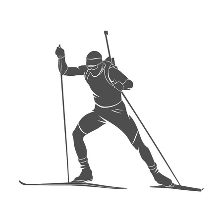 Silhouette biathlete on a white background. Vector illustration.