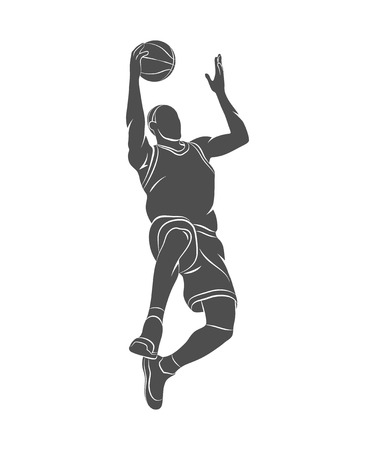 Silhouette basketball player with ball on a white background. Photo illustration. Stock Photo