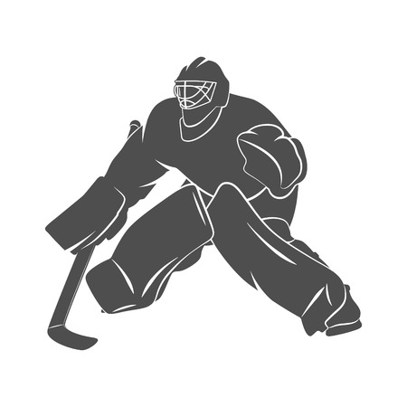 icehockey: Silhouette hockey goalie player on a white background. Photo illustration. Stock Photo