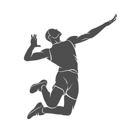 Silhouette volleyball player jumping on a white background. Photo illustration.