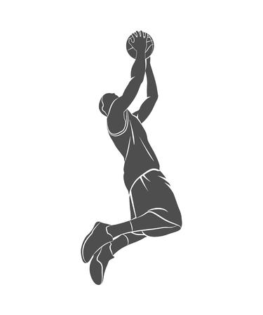 Silueta de un jugador de baloncesto, pelota.