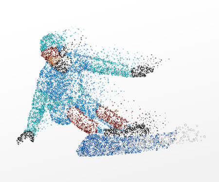 Abstraction, snowboard, athlete Illustration