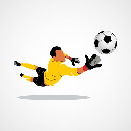 Football goalkeeper is jumping for the ball Soccer on a white background. Photo illustration.