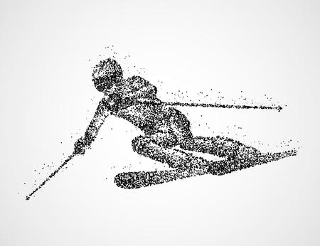 Abstract skier of black circles. Photo illustration.