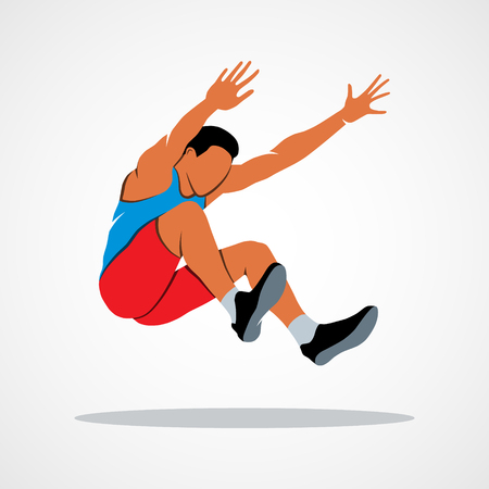 Long jump trajectory The athlete jumps. Branding Identity Corporate logo design template Isolated on a white background. Photo illustration. Stock Photo
