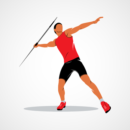 Javelin Thrower. Branding Identity Corporate design template Isolated on a white background. Photo illustration.